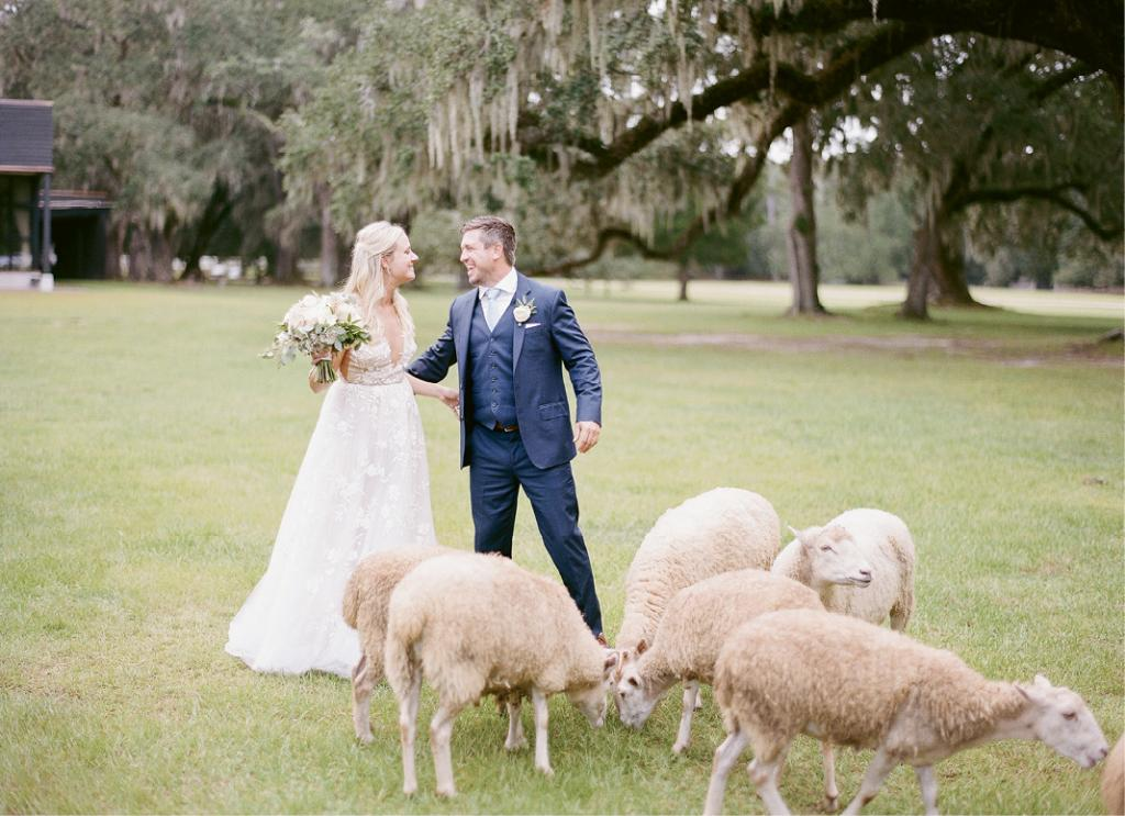 When guests arrived, they were offered parasols and fans, and the option to explore, pet the resident flock of sheep, or play croquet, Jenga, bocce, corn hole, and more.