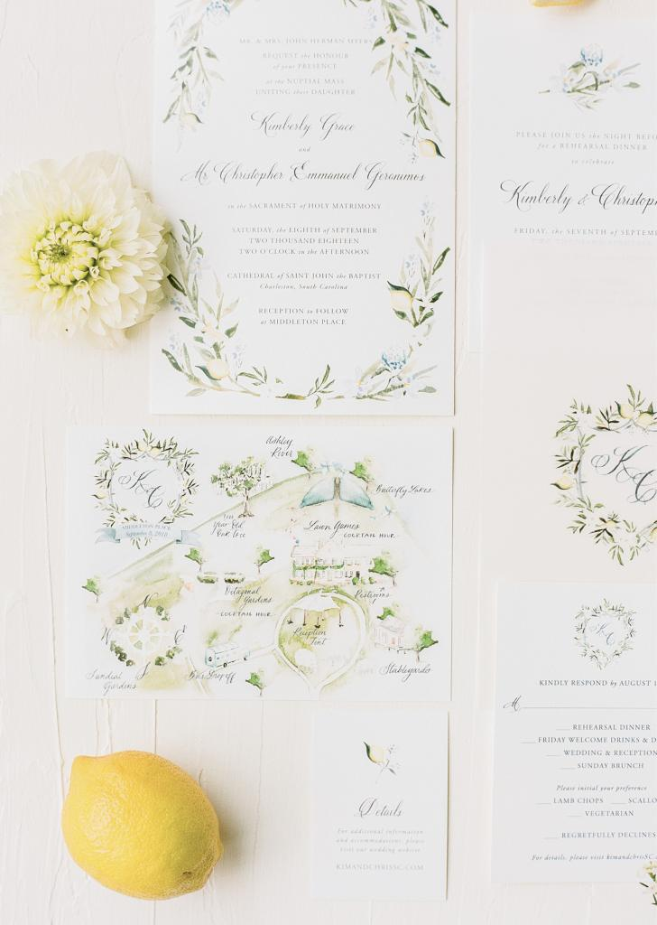 Mac & Murphy designed watercolor maps of Middleton Place so guests could treat themselves to self-guided tours during the cocktail hour while the couple snapped portraits. Kim and Chris's lemon-framed crest also donned a backgammon game that awaited any interested celebrant.
