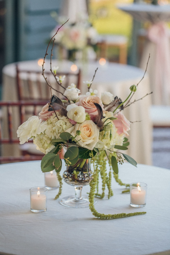 Reception florals and wedding design by Engaging Events. Image by Richard Bell Weddings at Magnolia Plantation & Gardens.