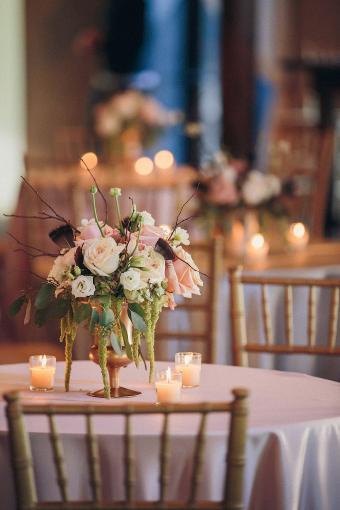 Wedding design and reception florals by Engaging Events. Rentals by Snyder Events and EventWorks. Image by Richard Bell Weddings at Magnolia Plantation & Gardens.
