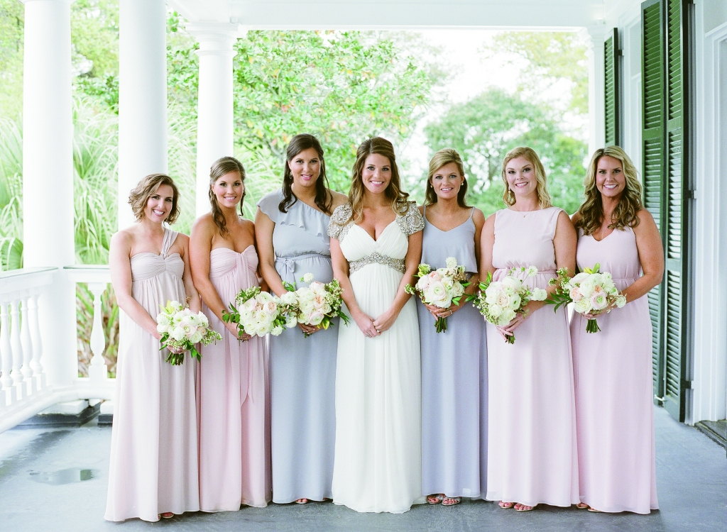 Bridesmaids chose their own blush or beige Joanna August frocks while Meggie's maids of honor wore pale gray. <i>Image by Lucy Cuneo Photography</i>