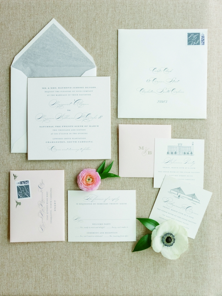 "The Cheree Berry stationery suite bore iconic elements of the Holy City (the Ravenel Bridge, Old Citadel, etc.) and foreshadowed what Calder called the day's ""Carolina traditional"" look. <i>Image by Lucy Cuneo Photography</i>"