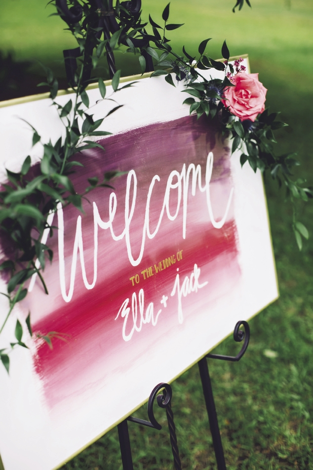 Watercolors by Britt Bates. Calligraphy by HR Deneau Paper Co. Signage by The Silver Starfish. Florals by Anna Bella Florals. Event design by Pure Luxe Bride. Image by Monika Gauthier Photography & Design.
