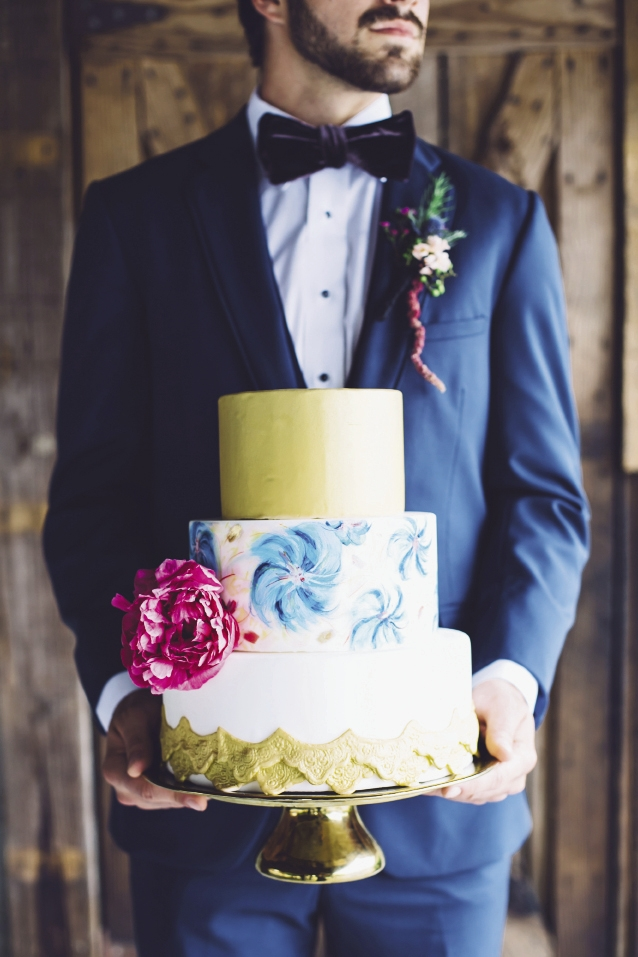 Menswear from David's Tuxedos. Bow tie from Wickham House (Etsy). Cake by DeClare. Florals by Anna Bella Florals. Event design by Pure Luxe Bride. Image by Monika Gauthier Photography & Design.