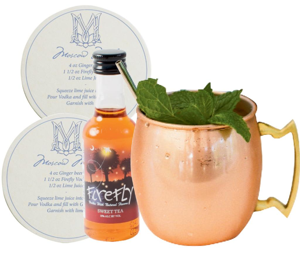 "4. DO YOURSELF A FAVOR: In homage to the couple's love of great drinks, they'll gift coasters printed with the recipe for a ""McGillis Mule"" and local ingredients like mini bottles of Firefly Sweet Tea Vodka. The drink will be served at the reception, too. (Coaster: Ancesserie)"