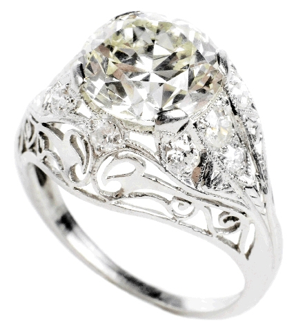 RETRO CHIC: 1920s 14K white gold ring with 2.77 ct. diamond and accent diamonds (.4 total ct.) Joint Venture, $17,500