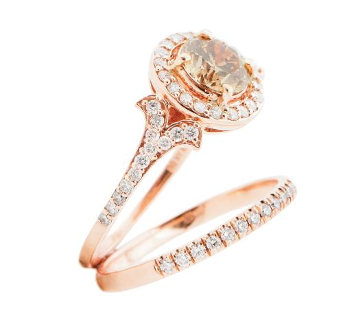 14K rose gold ring with 1 ct. diamond and accent diamonds (.375 total cts.) and 14K rose gold band  with diamonds (.18 total cts.), both from Skatell's Manufacturing Jewelers; prices on request