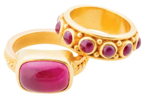 Sara Amos' 22K yellow gold ring with 6 ct. rubellite and 22K yellow gold band with rubies (4 total cts.), both from Helena Fox Fine Art; $6,200 and $4,400, respectively