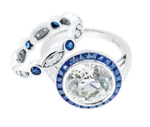 Platinum ring with 4.87  ct. diamond and sapphires  (.3 total cts.) from Joint  Venture Estate Jewelers; $37,500. 14K white gold  band with sapphires and diamonds (.62 total cts.) from Skatell's Manufacturing  Jewelers; $1,650