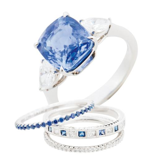 18K platinum ring  with 5.12 ct. sapphire and  diamonds from Croghan's Jewel Box; $22,425. 18K white gold band with sapphires and diamonds (price on request), platinum band with  diamonds ($2,145), and Kwiat's 18K white gold band with sapphires ($875), each from Paulo Geiss Jewelers