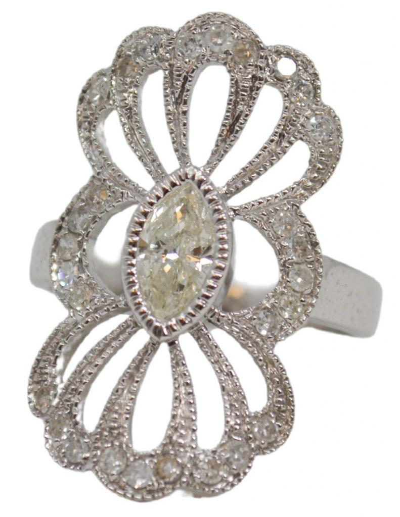 .53 ct. marquise diamond surrounded by .39 total cts. diamonds in 14K white gold from Gold Creations ($3,350)