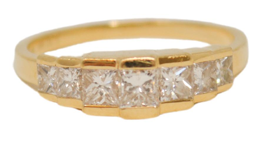 Princess-cut diamonds (1.05 total cts.) set in 14K yellow gold from Gold Creations ($2,250)