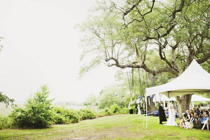 DOWN BY THE RIVER: Majestic oaks paired with breathtaking waterside scenery made Lowndes Grove the perfect spot for the ceremony and reception.