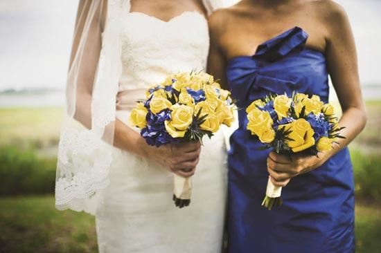 POP OF COLOR: Yellow roses with blue delphinium accents made for simple, bold bouquets.