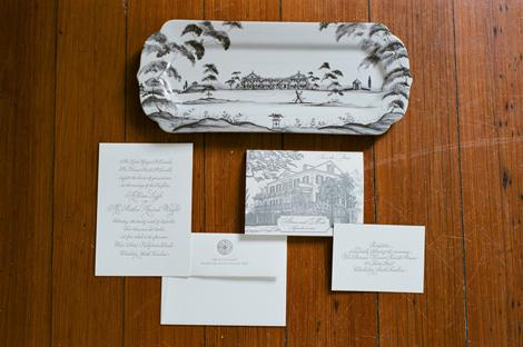 BOLD IMPRESSIONS: The couple's letterpress stationery suite—from Crayton-Heritage Letterpress in Charlotte, North Carolina, and calligraphed by Charleston's Elizabeth Porcher Jones—included a save-the-date bearing a slate-gray graphic of the Governor Thomas Bennett House.