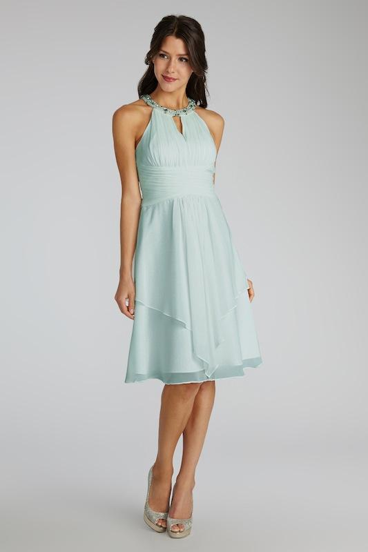 """Donna Morgan's """"Sophie"""" in Beach Glass. Available in Charleston through Bella Bridesmaids."""