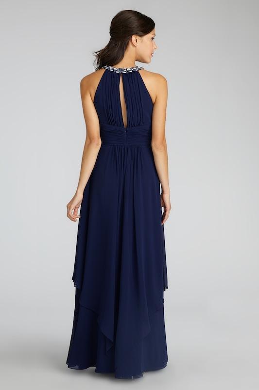 "Donna Morgan's ""Siena"" in Midnight. Available in Charleston through Bella Bridesmaids."