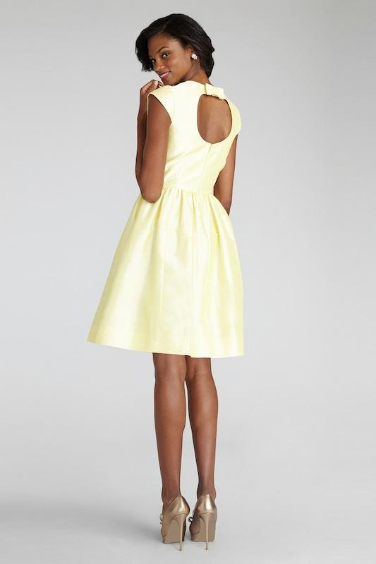 """Donna Morgan's """"Olive"""" in Sunny. Available in Charleston through Bella Bridesmaids."""