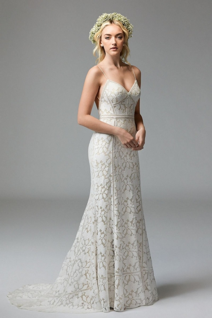 "TREND: Boho lace GOWN: Willowby's ""Vivienne,"" available in Charleston through Bridals by Jodi, Fabulous Frocks, Jean's Bridal, and Lovely Bride"